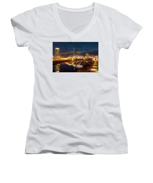 Women's V-Neck T-Shirt (Junior Cut) featuring the photograph Nashville Twilight Skyline II by Brian Jannsen