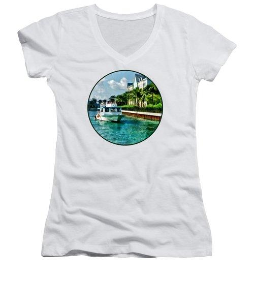Bahamas - Ferry To Paradise Island Women's V-Neck T-Shirt (Junior Cut) by Susan Savad
