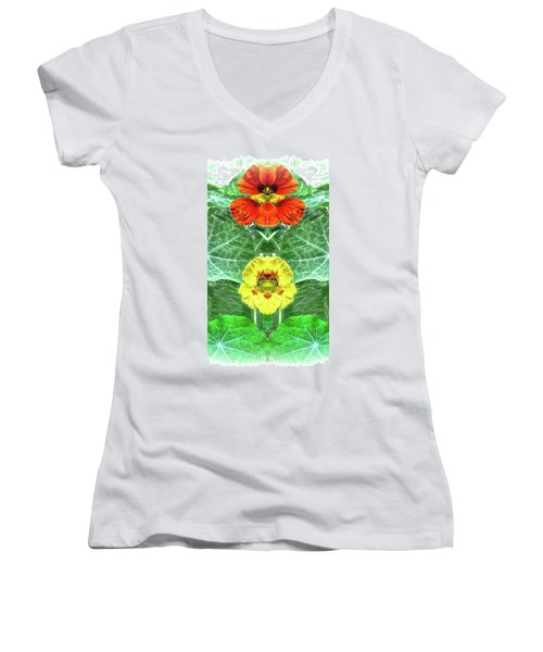 Nasturtium Mirror Image Pareidolia Women's V-Neck T-Shirt