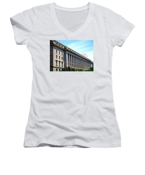 National Archives 2 Women's V-Neck T-Shirt (Junior Cut) by Randall Weidner