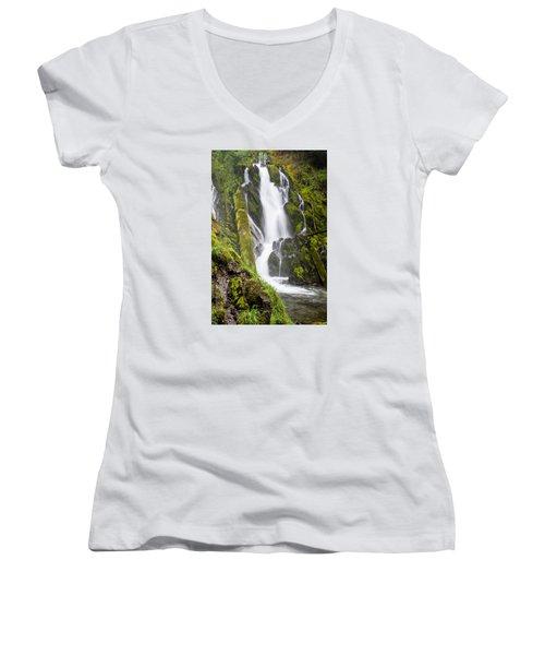 National Falls 1 Women's V-Neck T-Shirt (Junior Cut) by Greg Nyquist