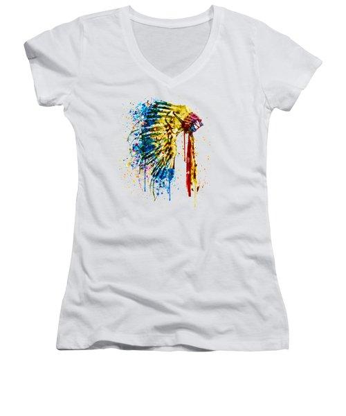 Native American Feather Headdress   Women's V-Neck T-Shirt (Junior Cut) by Marian Voicu