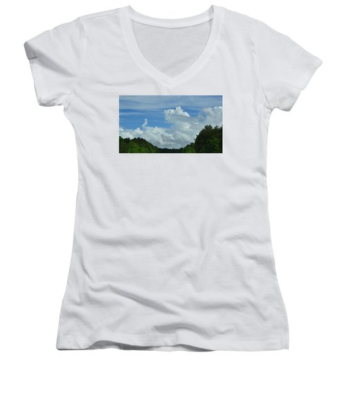 Natural Clouds Women's V-Neck (Athletic Fit)