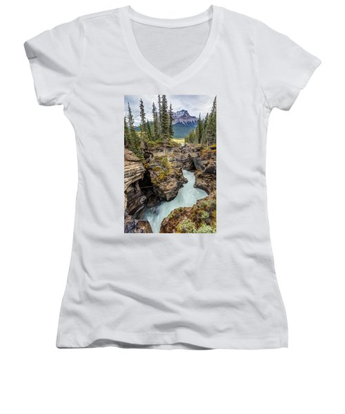 Women's V-Neck T-Shirt (Junior Cut) featuring the photograph Natural Flow Of Athabasca Falls by Pierre Leclerc Photography