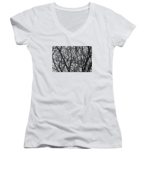 Natural Trees Map Women's V-Neck T-Shirt (Junior Cut) by Konstantin Sevostyanov