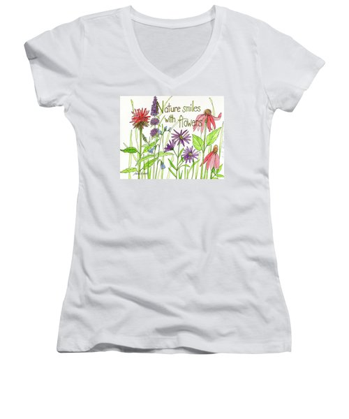 Nature Smile With Flowers Women's V-Neck