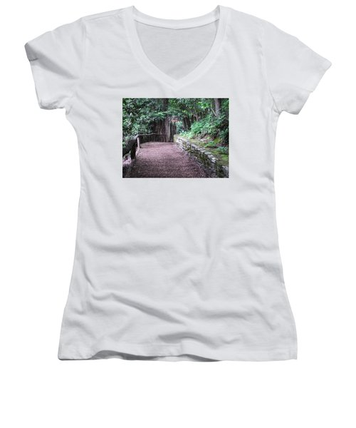 Women's V-Neck T-Shirt (Junior Cut) featuring the photograph Nature Trail by Cathy Harper
