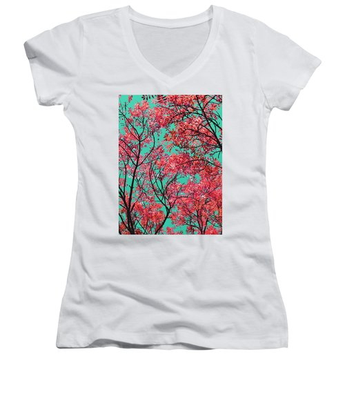Women's V-Neck T-Shirt (Junior Cut) featuring the photograph Natures Magic - Fire Red by Rebecca Harman