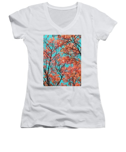 Women's V-Neck T-Shirt (Junior Cut) featuring the photograph Natures Magic - Orange by Rebecca Harman