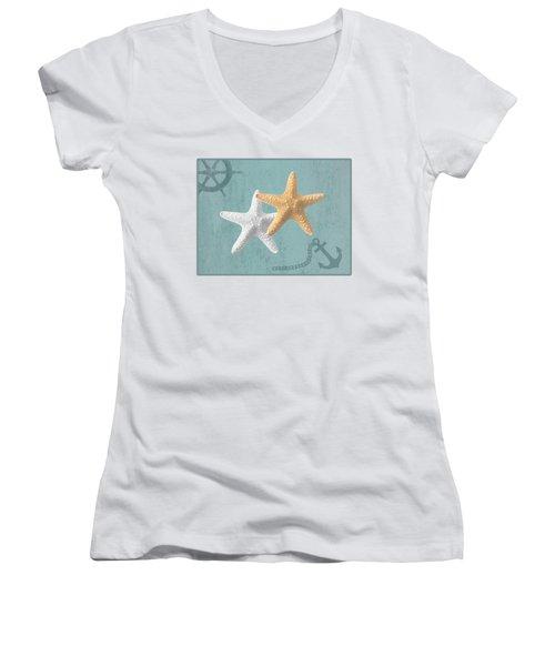 Nautical Stars Women's V-Neck (Athletic Fit)