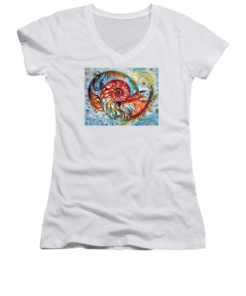 Nautilus Shell - Ocean Women's V-Neck