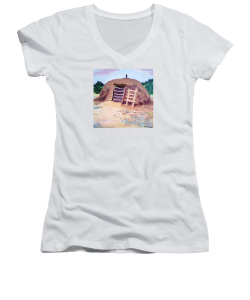 Women's V-Neck T-Shirt (Junior Cut) featuring the painting Navajo Hogan by Suzanne McKay