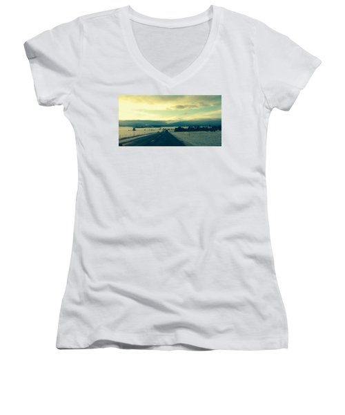 Women's V-Neck T-Shirt (Junior Cut) featuring the photograph Near Hartsel by Christin Brodie