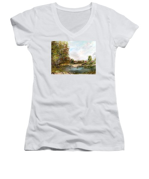 Near The Pond Women's V-Neck (Athletic Fit)