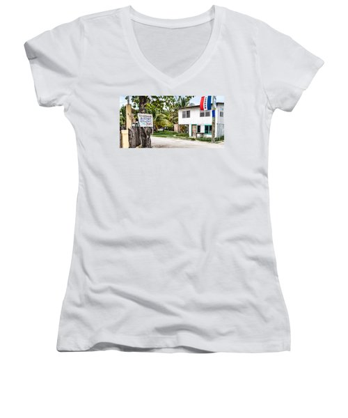 Women's V-Neck T-Shirt (Junior Cut) featuring the photograph Neglected In Paradise by Lawrence Burry