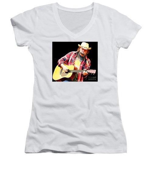 Neil Young Women's V-Neck T-Shirt (Junior Cut) by John Malone