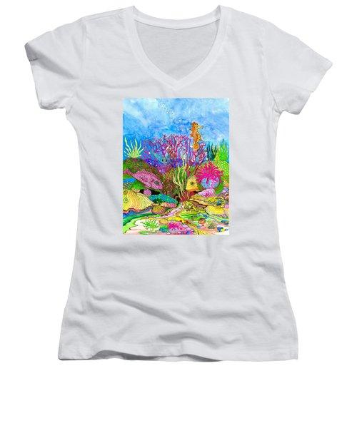 Neon Sea Women's V-Neck T-Shirt (Junior Cut) by Adria Trail
