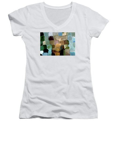 Neutrals In Light Abstract Women's V-Neck T-Shirt (Junior Cut) by Haleh Mahbod