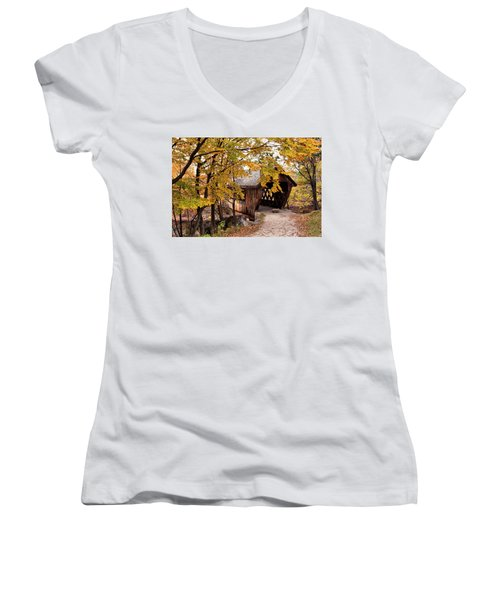 New England College No. 63 Covered Bridge  Women's V-Neck T-Shirt (Junior Cut) by Betty Pauwels