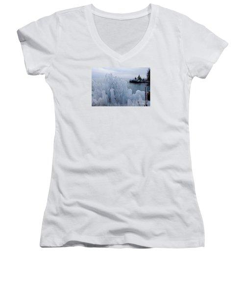 New Ice On Lake Superior Women's V-Neck T-Shirt (Junior Cut) by Sandra Updyke