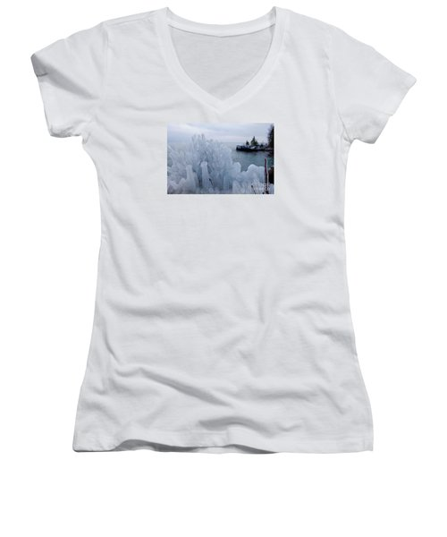 New Ice On Lake Superior Women's V-Neck (Athletic Fit)