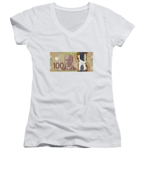 New One Hundred Canadian Dollar Bill Women's V-Neck