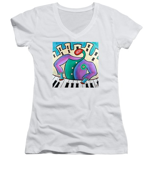 New Orleans Cool Jazz Piano Women's V-Neck (Athletic Fit)