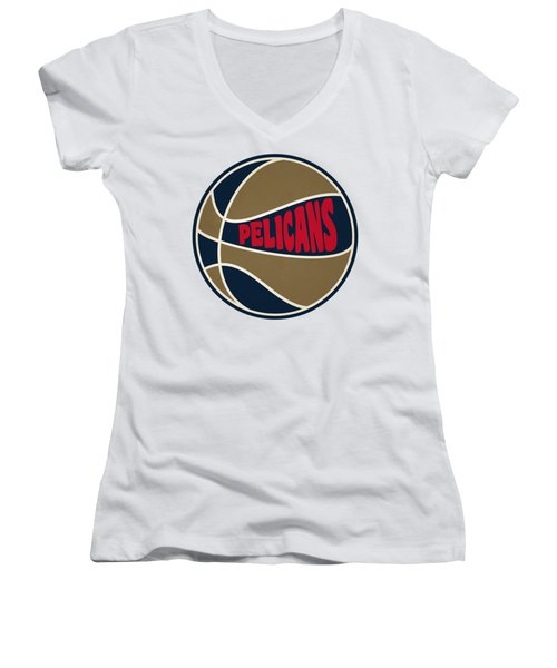 New Orleans Pelicans Retro Shirt Women's V-Neck T-Shirt (Junior Cut) by Joe Hamilton