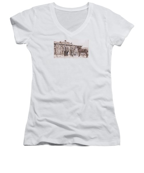 Women's V-Neck T-Shirt (Junior Cut) featuring the painting New Stallion At The Homestead Historical Vignette by Dawn Senior-Trask