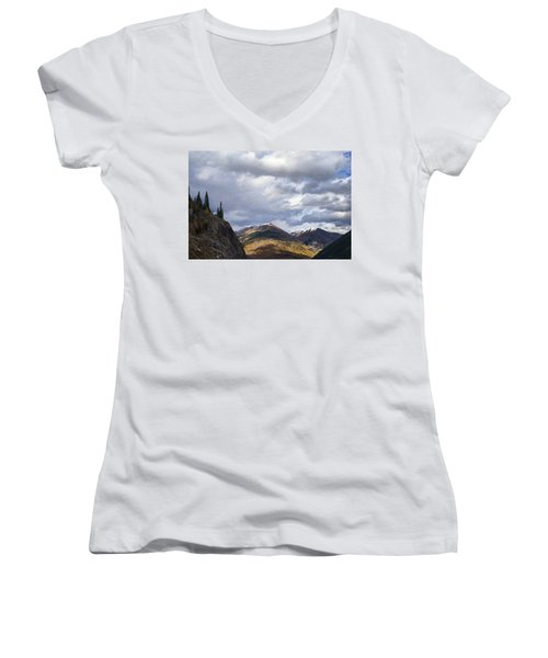 Peeking At The Peaks Women's V-Neck (Athletic Fit)
