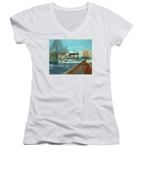 Triangle Park In Winter Women's V-Neck (Athletic Fit)