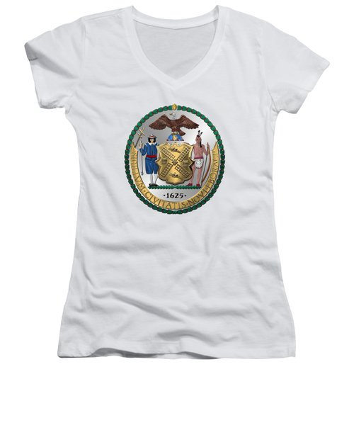 New York City Coat Of Arms - City Of New York Seal Over White Leather  Women's V-Neck T-Shirt (Junior Cut) by Serge Averbukh