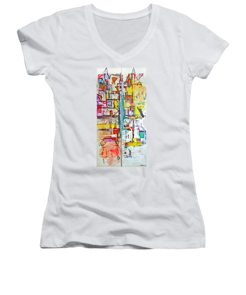 New York City Icons And Symbols Women's V-Neck