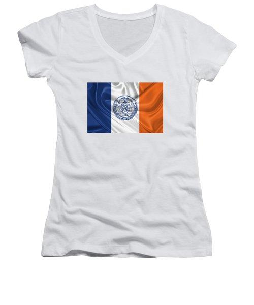New York City - Nyc Flag Women's V-Neck T-Shirt (Junior Cut)
