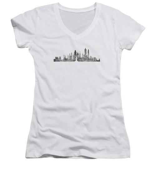 New York City Skyline B/w Women's V-Neck T-Shirt (Junior Cut) by Anton Kalinichev