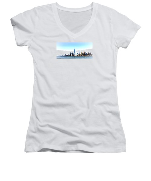 Women's V-Neck T-Shirt (Junior Cut) featuring the painting New York City Skyline by Denise Tomasura