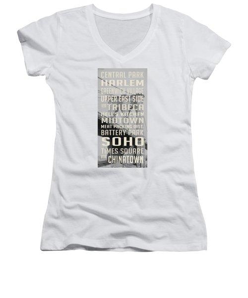 New York City Subway Stops Vintage Brooklyn Bridge Women's V-Neck T-Shirt (Junior Cut) by Edward Fielding