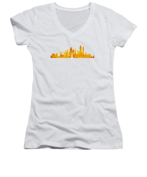 New York, Golden City Women's V-Neck T-Shirt (Junior Cut) by Anton Kalinichev