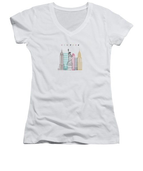 New York  Minimal  Women's V-Neck T-Shirt (Junior Cut) by Mark Ashkenazi