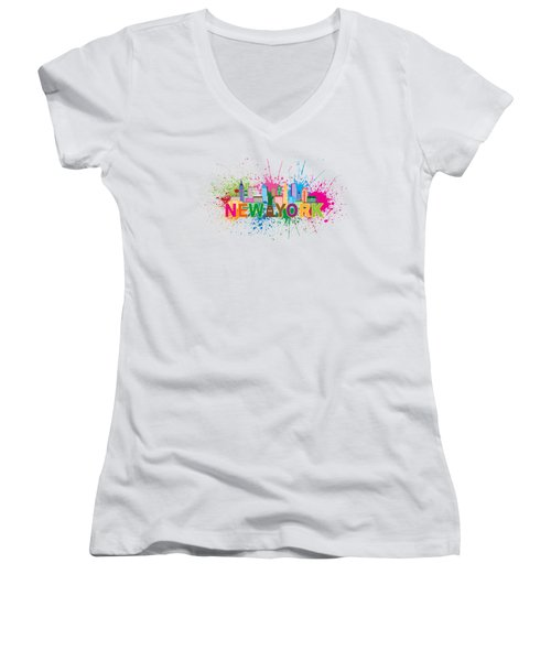 New York Skyline Paint Splatter Text Illustration Women's V-Neck (Athletic Fit)