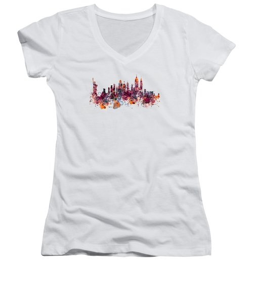 New York Skyline Watercolor Women's V-Neck (Athletic Fit)