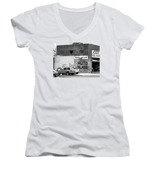 Women's V-Neck T-Shirt (Junior Cut) featuring the photograph New York Street Photography 70 by Frank Romeo