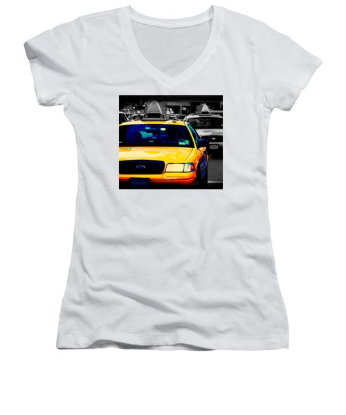 Women's V-Neck T-Shirt (Junior Cut) featuring the photograph New York Taxi by Christopher Woods