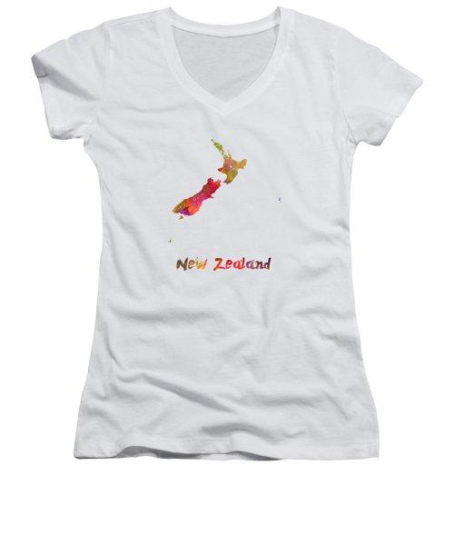 New Zealand In Watercolor Women's V-Neck T-Shirt (Junior Cut) by Pablo Romero
