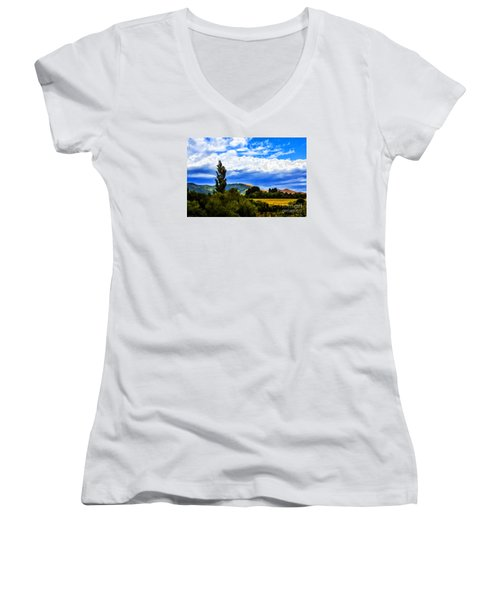 Women's V-Neck T-Shirt (Junior Cut) featuring the photograph New Zealand Legacy by Rick Bragan
