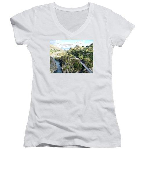 Women's V-Neck T-Shirt (Junior Cut) featuring the photograph New Zealand Scene by Constance DRESCHER