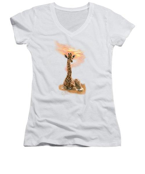 Newborn Giraffe Women's V-Neck
