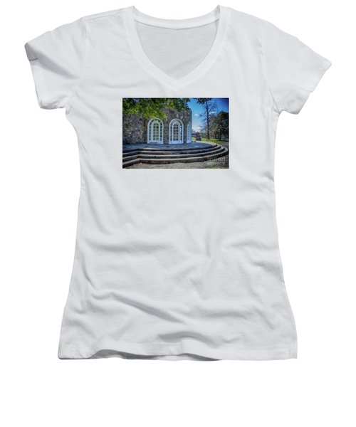 Newburgh Downing Park Shelter House Side View Women's V-Neck (Athletic Fit)