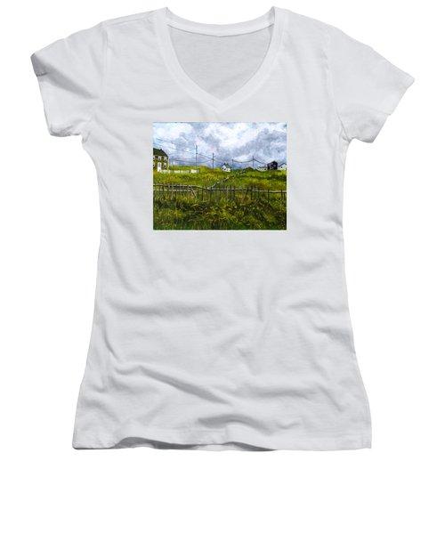 Newfoundland Jig Women's V-Neck T-Shirt (Junior Cut) by Diane Arlitt