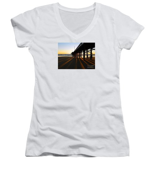 Women's V-Neck T-Shirt (Junior Cut) featuring the photograph Newport Pier, Newport Beach   by Everette McMahan jr
